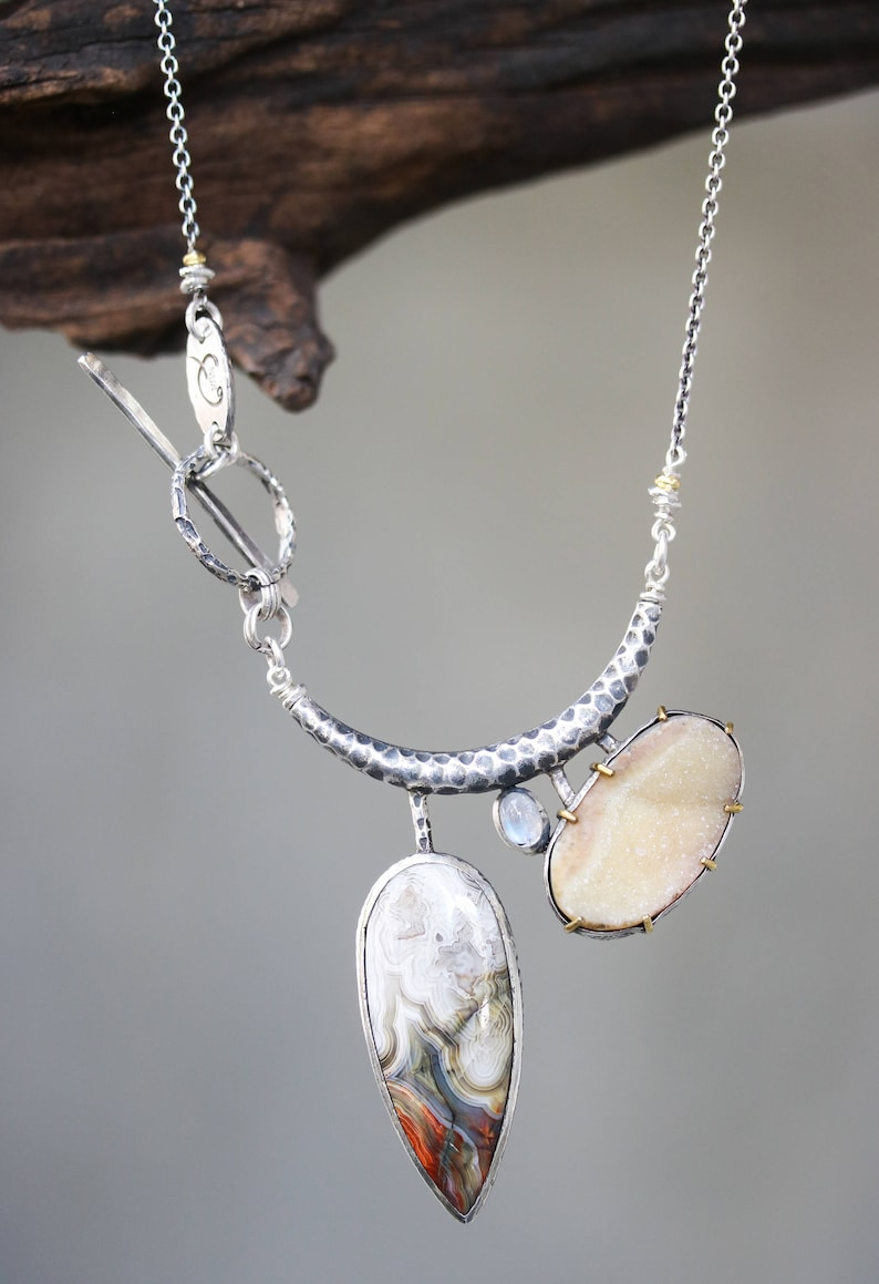Oval yellow druzy lace agate and moonstone pendant necklace in silver bezel setting with silver tube on Sterling silver oxidized chain