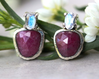 Ruby and tiny oval feacted moonstone stud earrings in silver bezel and prongs setting with sterling silver post and backing