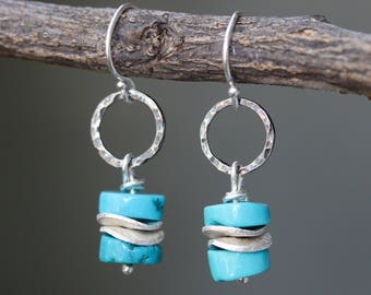 Blue turquoise beads earrings and silver plate with hammer silver oxidized loops on sterling silver hooks style(FBA)
