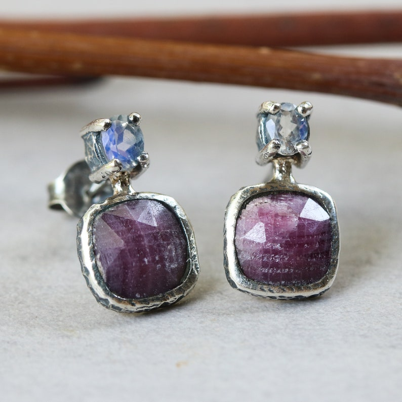 Square ruby and oval moonstone stud earrings in bezel and prongs setting with sterling silver post and backing