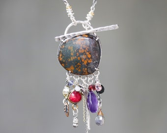 Brown turquoise necklace in silver bezel setting and mix gemstone with rough ruby secondary on sterling silver oxidized chain