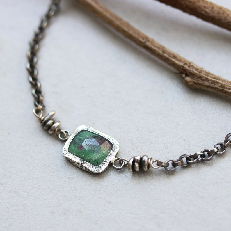 Rectangle faceted ruby zoisite bracelet in silver bezel setting and sterling silver oxidized rolo chain