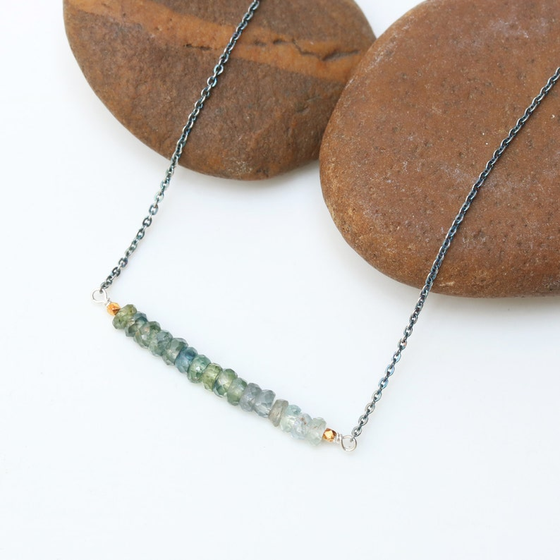 AAA Green Sapphire Necklace with oxidized sterling silver chain