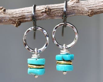 Blue turquoise beads and gold plate beads with hammer silver oxidized loops on sterling silver oxidized hooks style