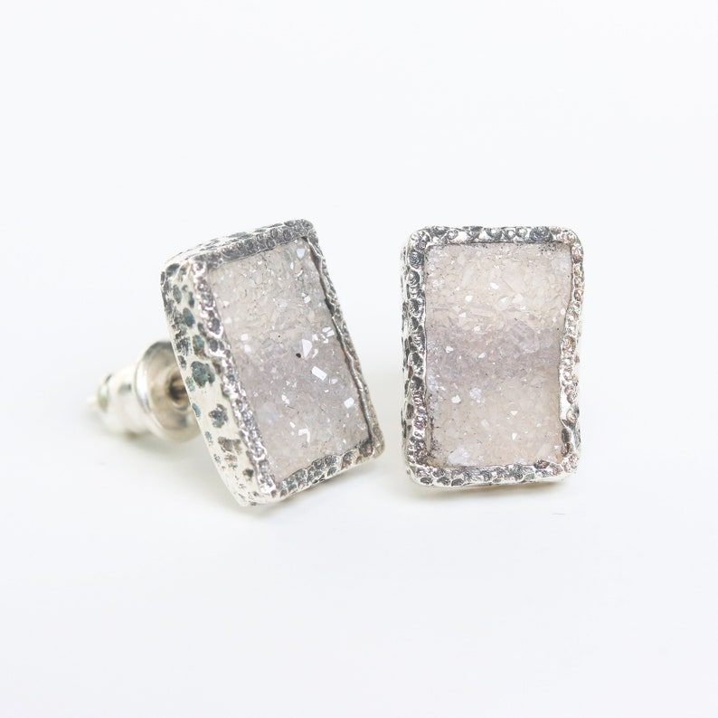 Rectangle grey Druzy quartz earrings in silver bezel setting with sterling silver stud style