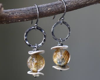 Round rutilated quartz earrings and silver plate with hammer silver oxidized loops on sterling silver oxidized hooks style(FBA)
