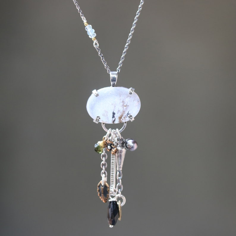 Pine forest in oval dendritic quartz pendant necklace in sterling silver prongs setting with mix gemstone on oxidized sterling silver chain