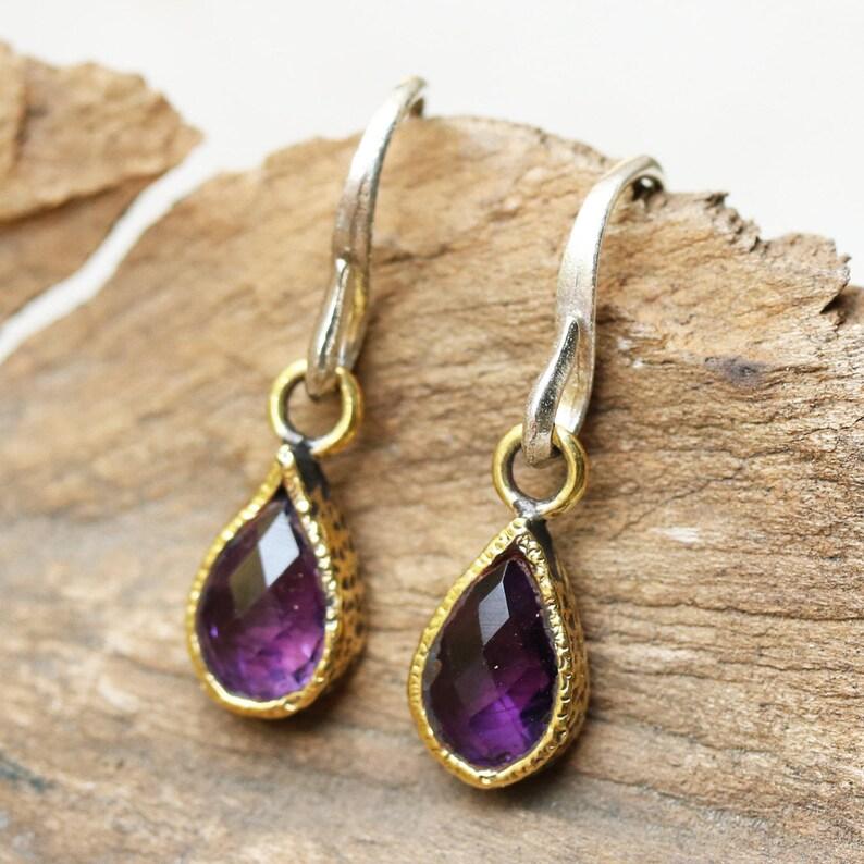 Teardrop faceted amethyst earrings in brass bezel setting and sterling silver hooks