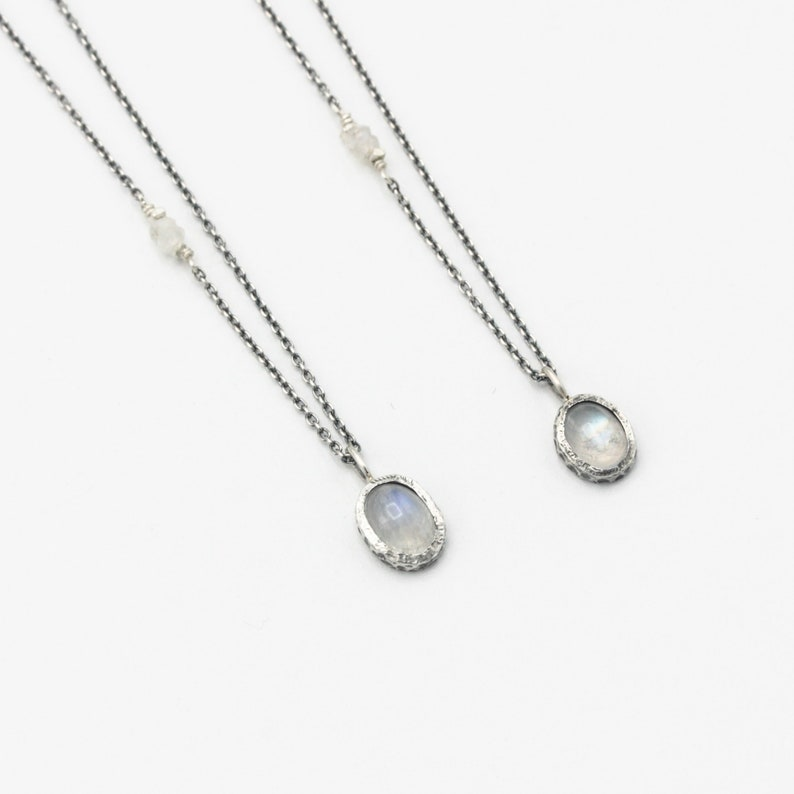 Dainty oval moonstone gemstone pendant necklace  in silver bezel setting with sterling silver chain