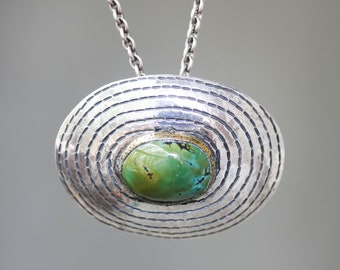 Green oval Turquoise pendant necklace in brass bezel setting in silver engraving oval shape on sterling silver oxidized chain