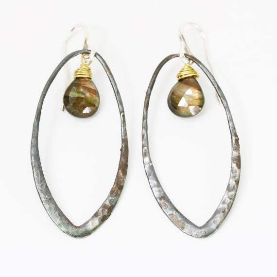 Karina S Clip On Hoop Earrings silver plated hoops with clear crystal stones