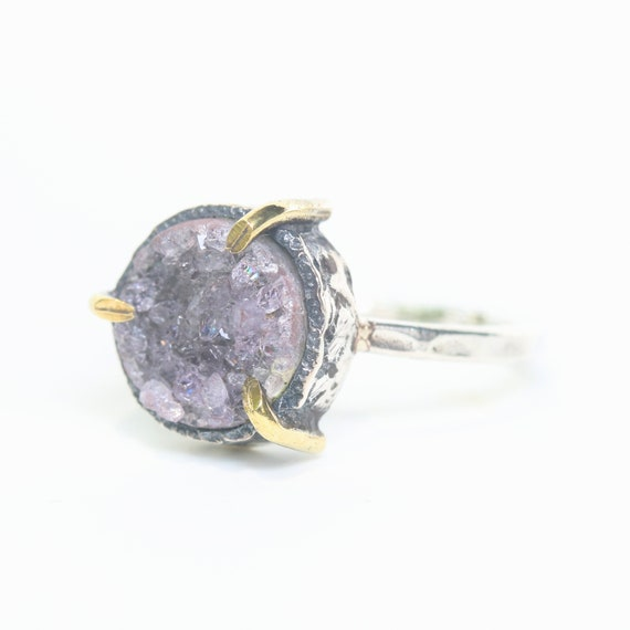 Light purple Brazilian druzy ring in silver prongs setting with sterling silver hard texture band
