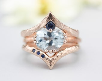 Set of 3 Blue tone, Blue topaz cocktail ring with 18k rose gold texture design band with Rose gold Blue sapphire ring crown design