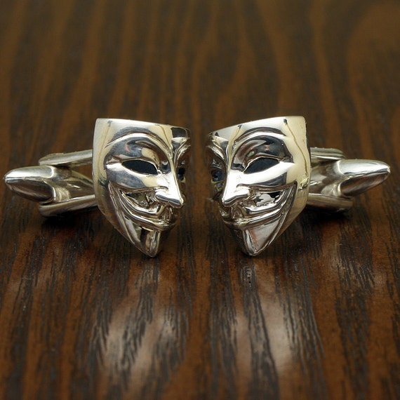 Wooden cufflinks Anonymous Mask
