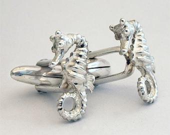 Seahorse Cufflinks, Sterling Silver, Handmade