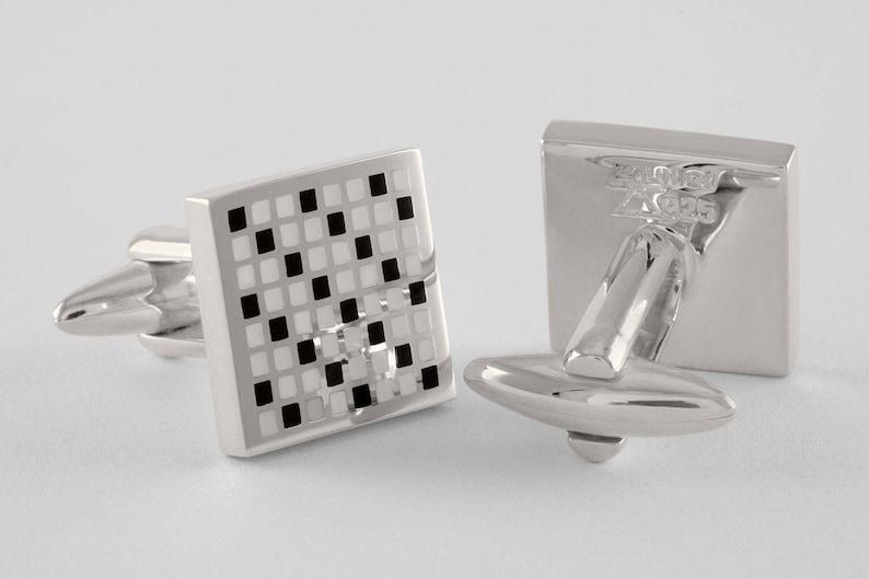 personalized handcrafted Diagonal Pixel Art Cufflinks Sterling Silver /& Enamel