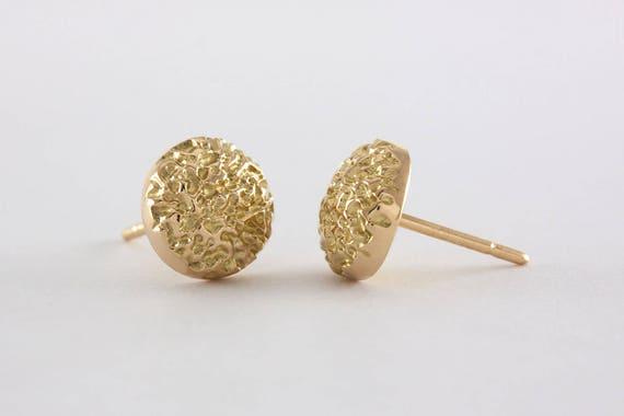 handcrafted matte 14k18k gold Big Facets Gold Earrings