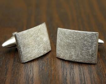 Scratched Arc Cufflinks, Sterling Silver