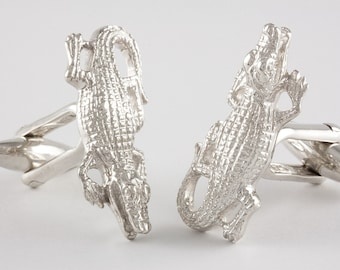 Crocodile Cufflinks, Sterling Silver, personalized