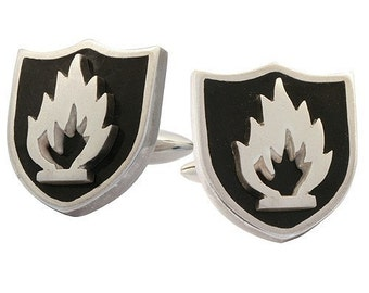 Cufflinks Black Fire, Enamel, Sterling Silver