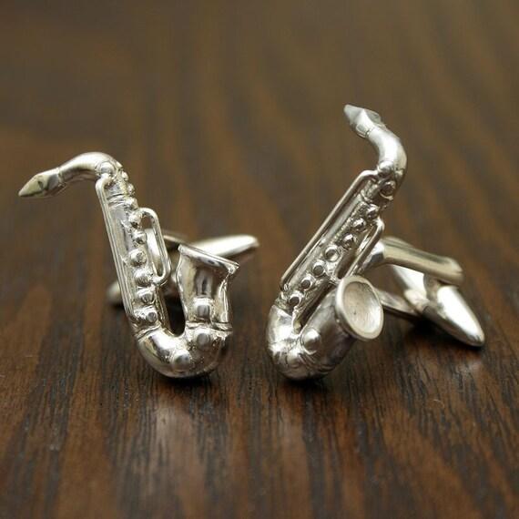 Saxofón Plateado Plata Esterlina 925 Gemelos ley saxofón Cufflinks