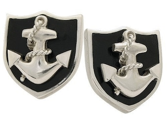 Anchor on Black Enamel Cufflinks