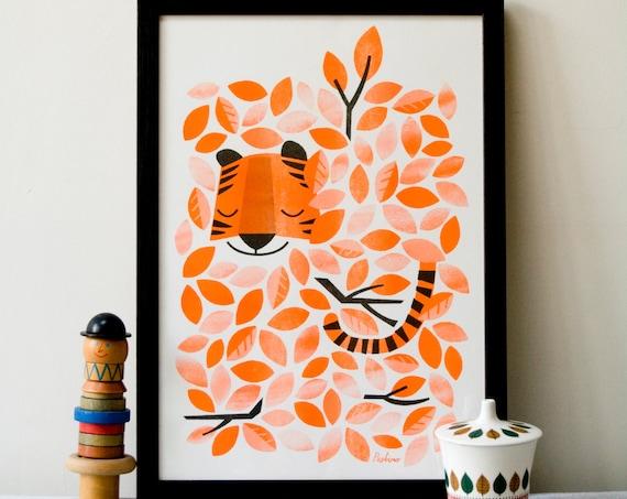 Hidden Tiger - A3 RISO print by Peski Studio