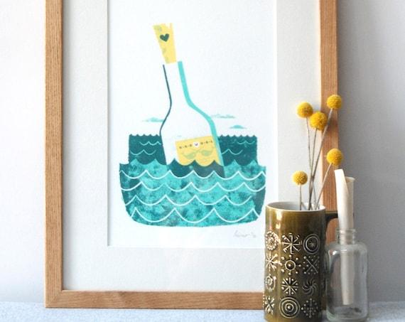 Message In A Bottle - Screen print by Peski Studio