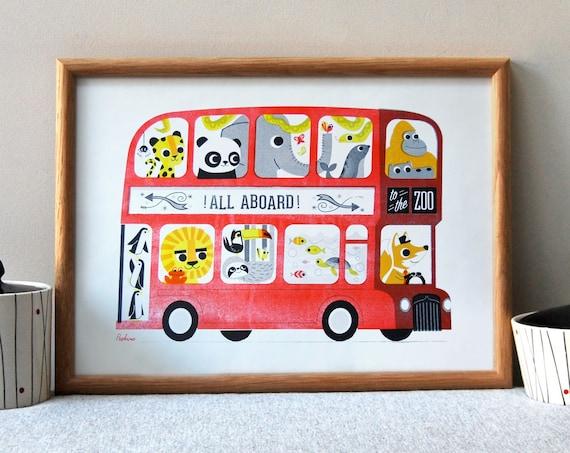 Zoo Bus 'All Aboard' A3 RISO Print by Peski Studio
