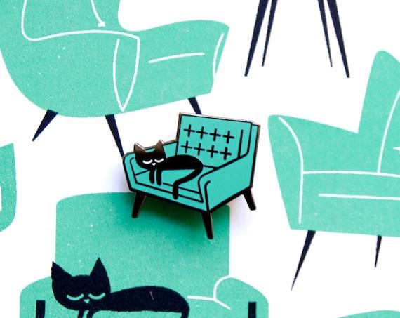 Cat Naps Print & Badge set - A4 2 colour screenprint and enamel pin badge
