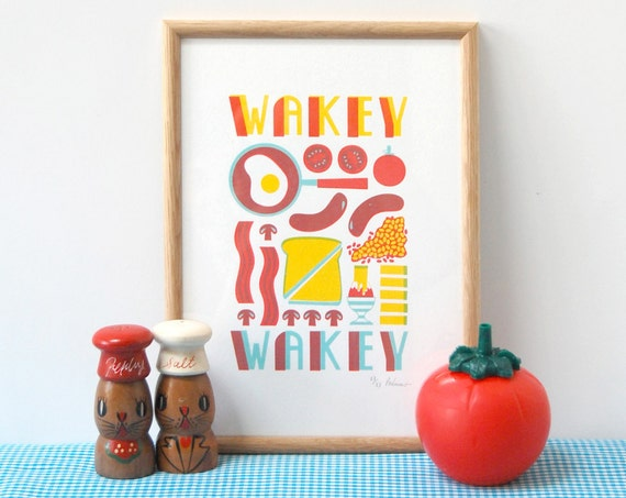 Wakey Wakey A4 3 colour Screen Print - by Peski Studio