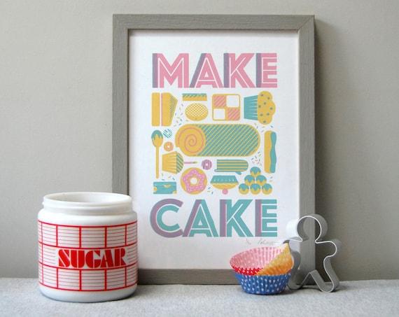 Make Cake A4 - 3 colour Screen Print by Peski Studio
