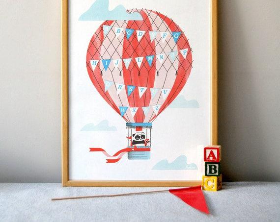 Hot Air Alphabet - A3 RISO print by Peski Studio