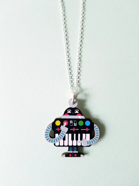 Synthi Robot wood pendant necklace