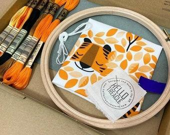 Hidden Tiger embroidery kit - Peski Studio x Hello Treacle collab