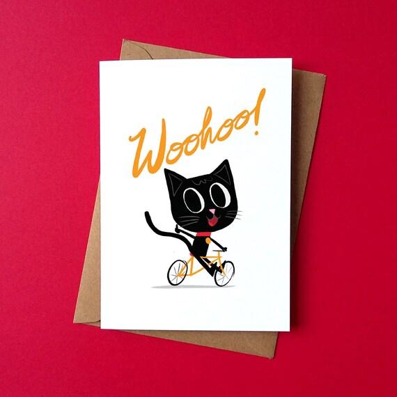 Greetings Card - Happy Cat - by Peski Studio