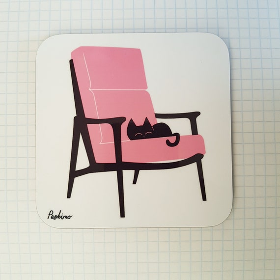 Cat Nap Armchair Coaster in pink and white