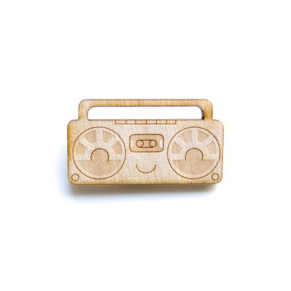 Stereo - Wooden Badge / Pin / Brooch