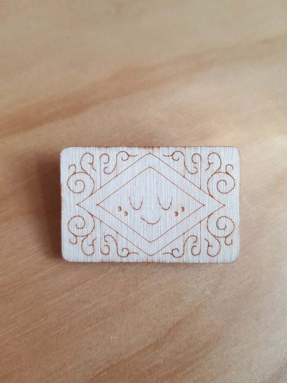 Custard Cream *SECONDS* - *SALE* Wooden Badge / Pin / Brooch