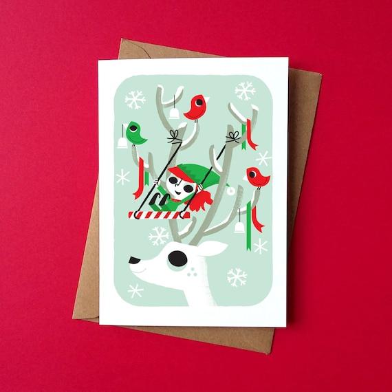 Christmas Greetings Card - Elf Swing - by Peskimo