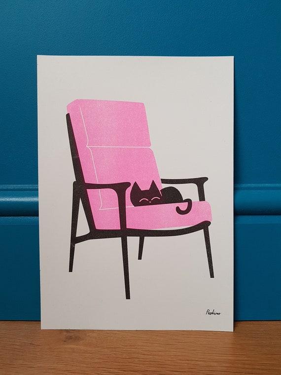 Neon pink cat nap - A4 RISO print - by Peski Studio
