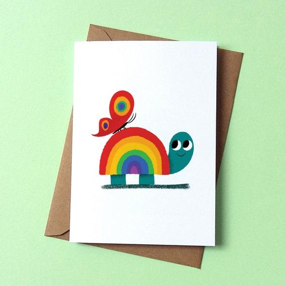 Greetings Card - Rainbow Tortoise - by Peski Studio
