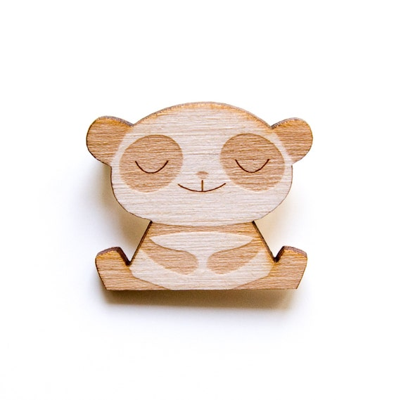 Happy Panda - Wooden Badge / Pin / Brooch