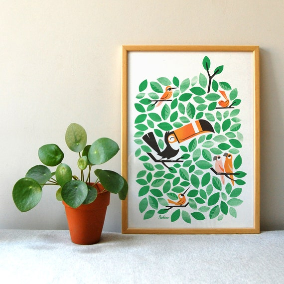 Toucan Tweets - A3 RISO print by Peski Studio