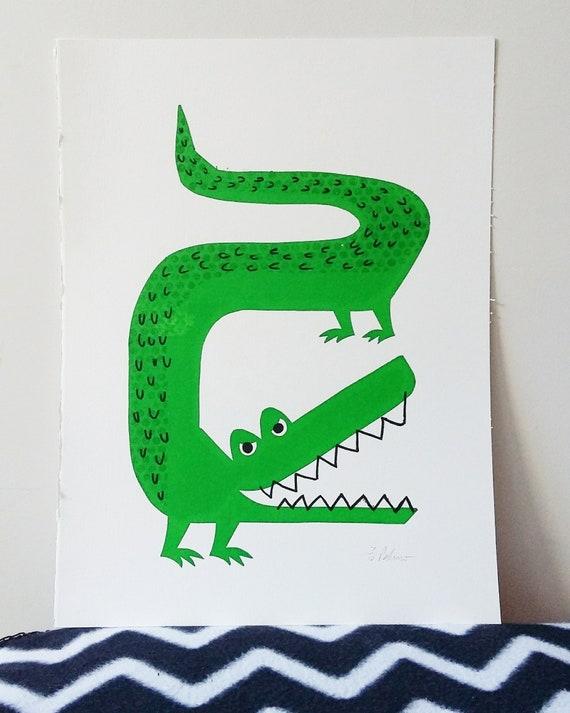 The Enormous Crocodile - Paper cut stencil screen print - Artist Proofs - by Peski Studio