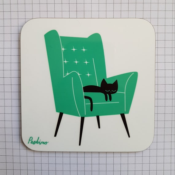 Cat Nap Armchair Coaster in teal and white