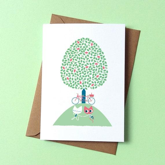 Tandem Picnic Greetings Card - by Peski Studio