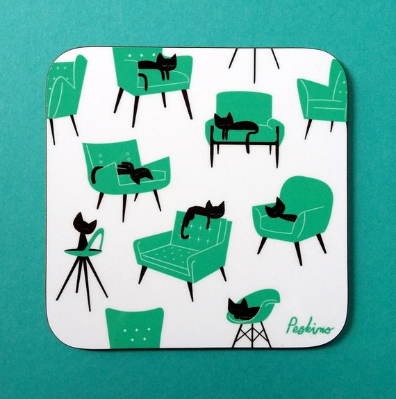 Cat Nap Coaster in teal and white