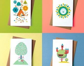 Leafy set of Greetings Card - Pack of 4 - by Peski Studio