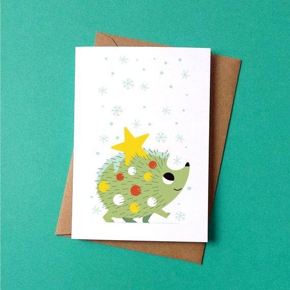 Christmas Greetings Card - Festive Hedgehog - by Peskimo